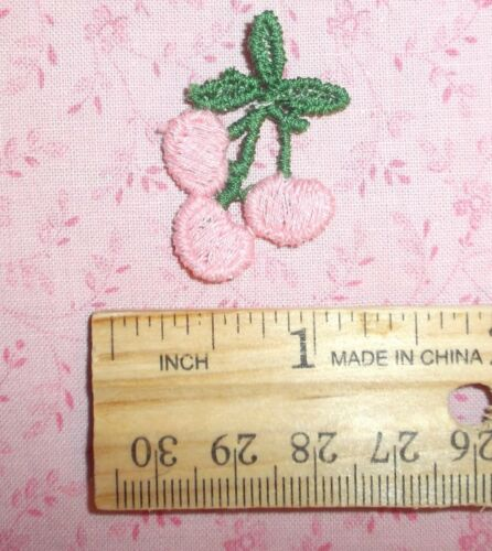 6 piece LOT pink embroidered Cherries SEW-ON small size Baby /& DOLL clothes!
