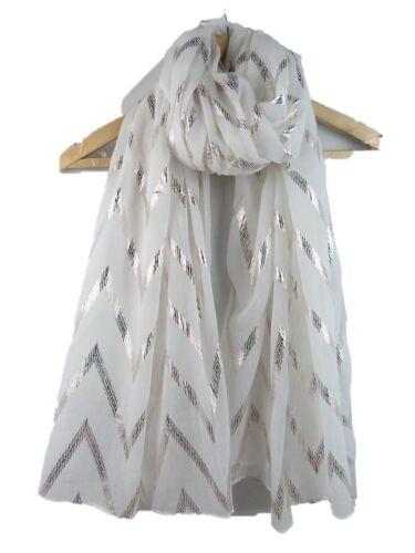 Fabulous metallica Sciarpa Shiny Foil Glitter WAVE stampa morbida viscosa STOLA Wrap