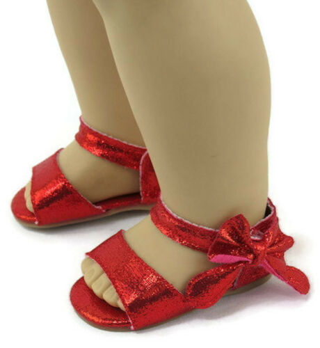 Red Sandal Shoes with Bow for 18 inch American Girl Doll Clothes