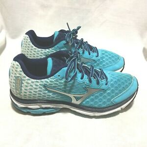 timeless design 4dc35 59f93 Details about MIZUNO WAVE RIDER 18 RUNNING SHOES MULTI COLOR SIZE 7.5 WOMEN