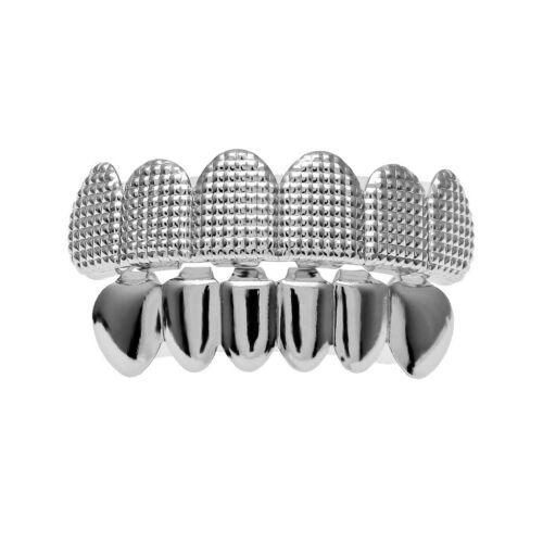 18k Appareil Dentaire Texture Grills Hip Hop Dents Fang Caps Upper Lower Or