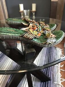 Spring Step Women's Size 9/ 40 Savory Green Sandal Shoes Low Kitten Heels