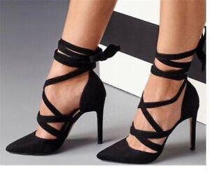 Ladies Black High Heels Pointy Toe