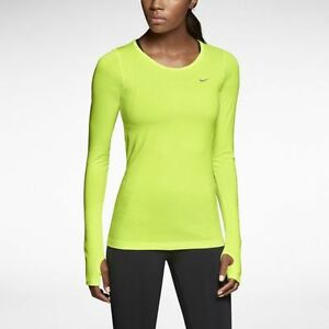 588532-702 New with Tag NIKE Womes Knit running shirt long sleeve dri-fit YELLOW