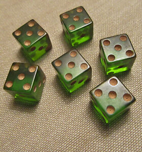 6 Vintage Casino Gambling Game Pieces-3 PAIR LUCITE GREEN ...
