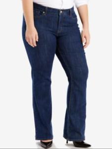 Levis-415-Womens-Plus-Sz-24-Classic-Boot-Cut-Jeans-Mid-Rise-Dark-Blue-Denim-NWT