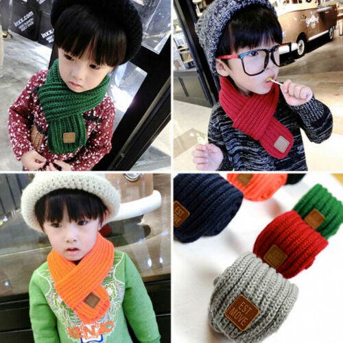 Kids Girls Boys Winter Scarf Warm Knitted Scarves Wool Scarf Neck Warmer Wrap AS