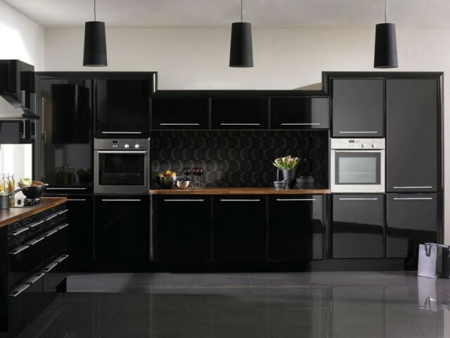 Glossy Fablon Kitchen Units Cupboard Doors Draws Self Adhesive Vinyl Cover Up