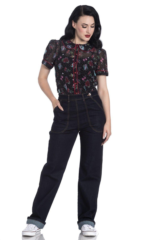 Hell Bunny Weston 40s 50s Style Rockabilly Jeans | eBay