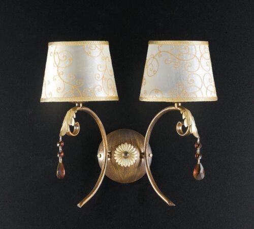 Applique lampada parete classico ferro battuto paralumi foglie cristalli oro
