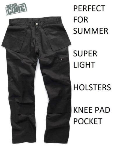 Hard Core Tough Grit Black Trade Trouser Summer Cargo Holster Lightweight SALE !