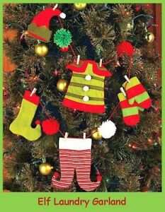 image is loading 48 034 santa elf laundry garland christmas tree - Christmas Mantel Decorations Garland