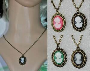 COLLIER-PENDENTIF-camee-Ovale-29x20mm-CABOCHON-RESINE-18X13-METAL-BRONZE