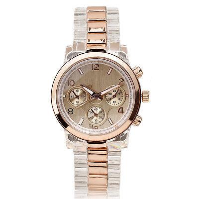 New Women Quartz Wrist Watch Rose Golden Watch Face Crown 3 Hands Clear Resin