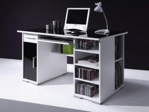 SCHREIBTISCH COMPUTERTISCH PC-TISCH HOME OFFICE WEISS SCHWARZ NEU