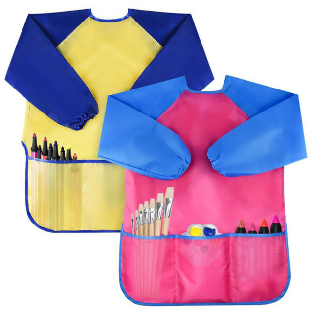 Pro-Noke Kids Art Smocks Children Waterproof Play Apron Artist Painting Smocks Long Sleeve with 3 Roomy Pockets,Feeding Apron for Toddler 3-8 Years yellow+blue