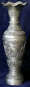Vintage-Retro-2-Piece-Metalware-Urn-Vase-Decorated-Rooftop-Scene-27-5-cm-high
