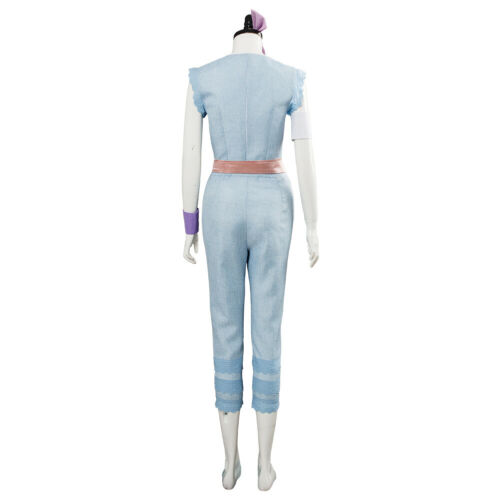 Toy Story 4 Bo Peep Outfit Cosplay Costume Dress Gown Blue Suit Cape Cloak Robe