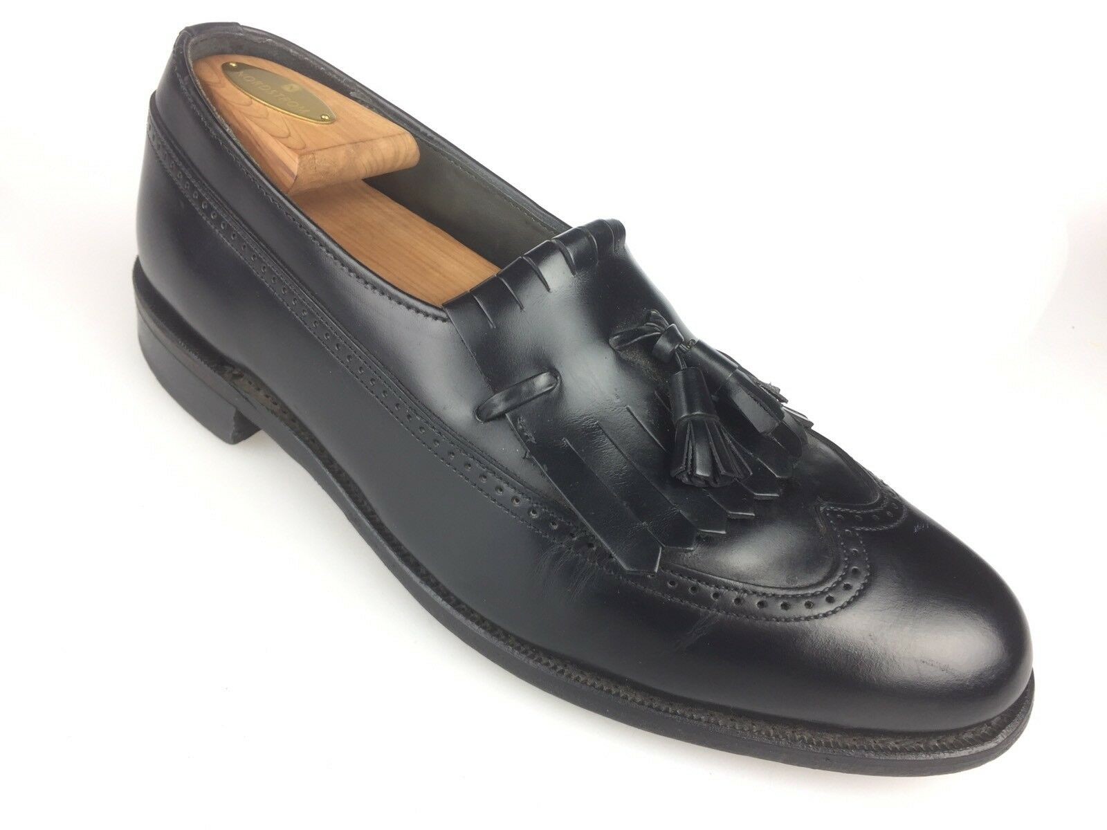 Dexter Mens Black Leather Tassel Wing M Tip Loafers Size 9 M Wing USA Made Dress 0fb59c