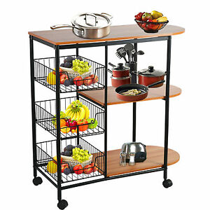 ... Kitchen Island Trolley Rolling Dining Cart Tableware Storage