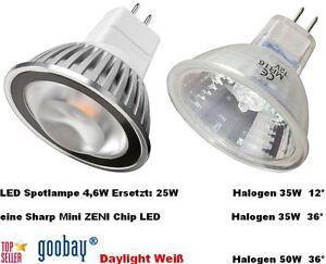 3x spot lámpara mr16 LED 4,6w blanco Daylight 12v o halógeno 12 ° 35w 36 ° 50w OVP  </span>