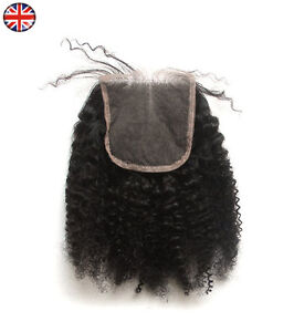 Afro-Kinky-Curl-Hair-Parting-Top-Closure-6A-Brazilian-Remy-Human-Hair-4x4-034-Lace