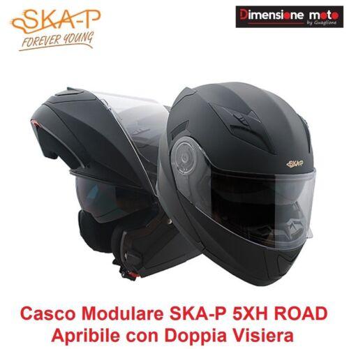 Casco Modulare Doppia Visiera SKA-P ROAD Colore Nero Gommato Taglia XS 53/54cm