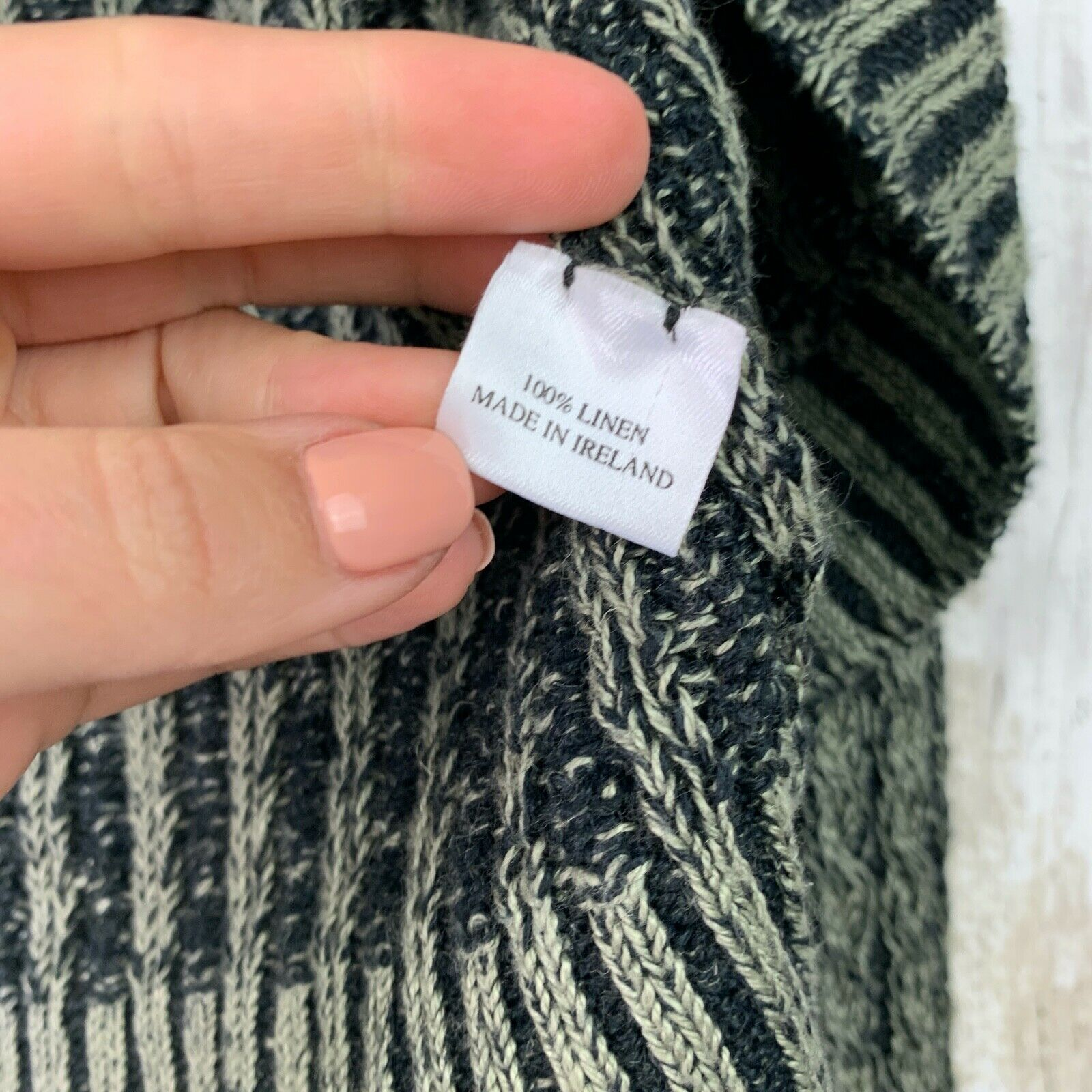 Inis Meain Linen Loose Knit Open Sweater Green Gr… - image 5