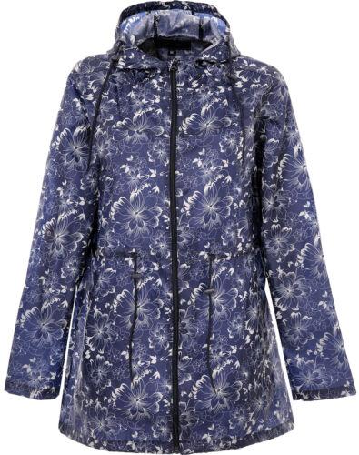 Womens Ladies Printed Kagoule Long Sleeves Hooded Rain Jacket Showerproof
