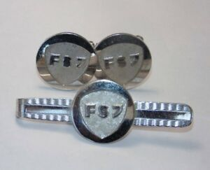 Vintage-MINT-Set-Mens-Cuff-Links-Cufflinks-Tie-Bar-Pin-Silver-Crest-FSJ-or-FS7