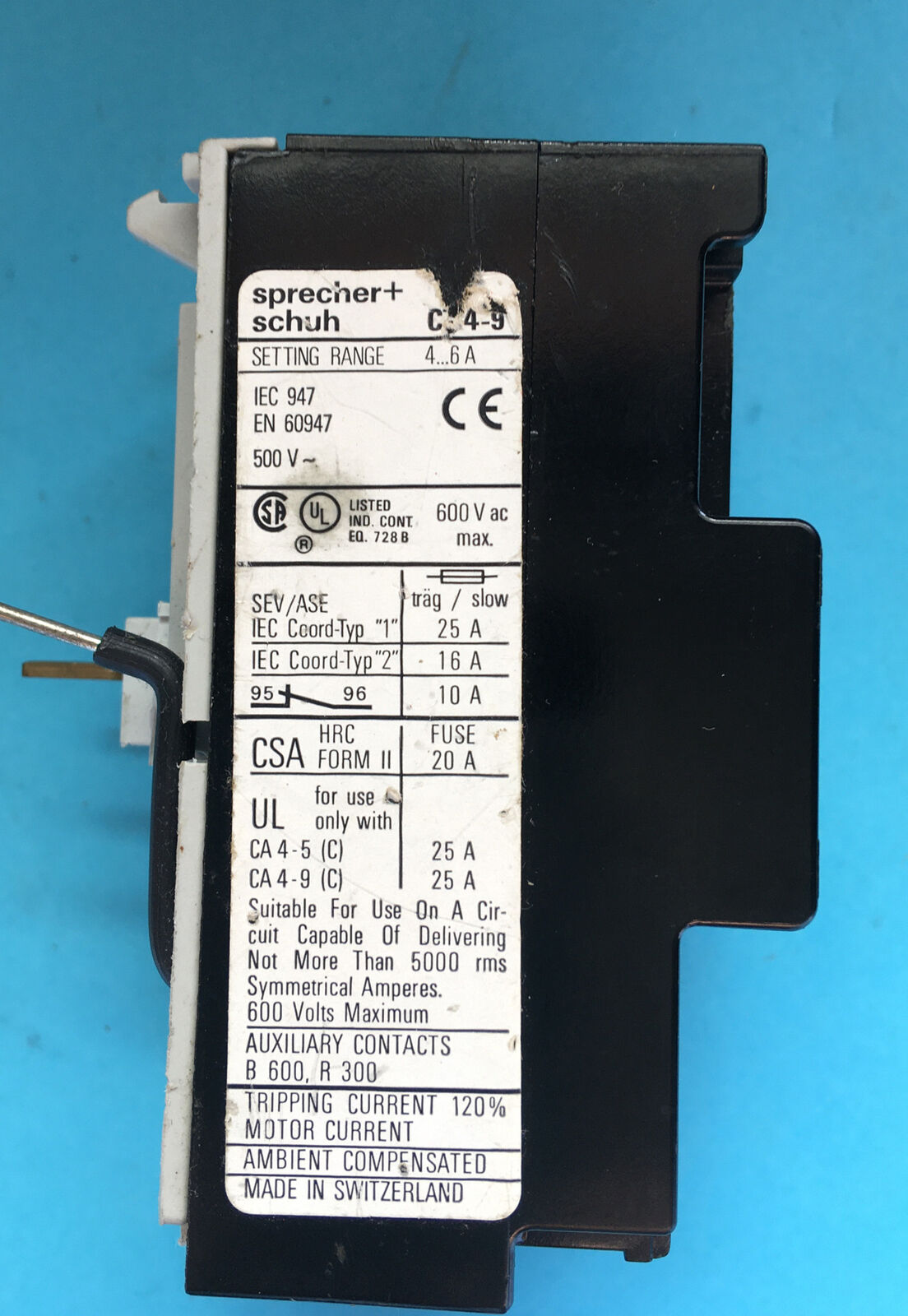 SPRECHER /& SCHUH CT4-9-0.8-1.2A Thermal Overload Relay 0.8-1.2AMP
