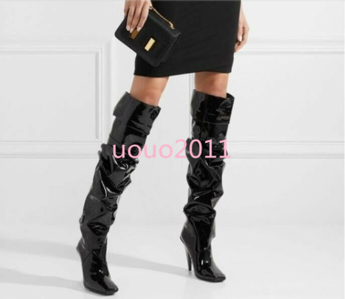 Occident Womens Patent Leather Pleated Knee High Boots Square Toe Stiletto shoes