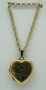 Lovely-Heavy-Solid-9ct-Gold-Engraved-Heart-Locket-And-Chain