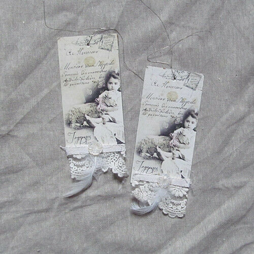 Jeanne d/' Arc Living Ostertag with girl motif and lace 6 x 14 cm Shabby Chic