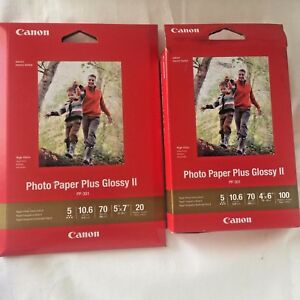 Canon Photo Paper Plus Glossy Ii 4x6 X100 Sheets 5x7 X20 Sheets