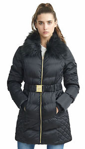 Jacket Frakke Polstret Sort Kvinders Ladies Faux Bælte Bistro Puffer Winter Fur Longline FFzvx