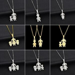 ITS-FT-New-Stainless-Steel-Single-Mother-Kids-Pendant-Chain-Necklace-Jewelry-E