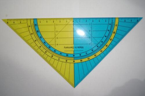 10x Geodreieck Groß Lineal Scala 20cm Kunststoff flexibel gelb blau transparent