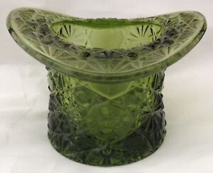 Vtg-Smith-Glass-Topper-Daisy-amp-Button-Top-Hat-Vase-Container-Avocado-Green-FR-SH