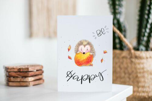 Geschenk karte Tiere Grußkarte Wald Be Happy Glück Aquarell Postkarte Igel