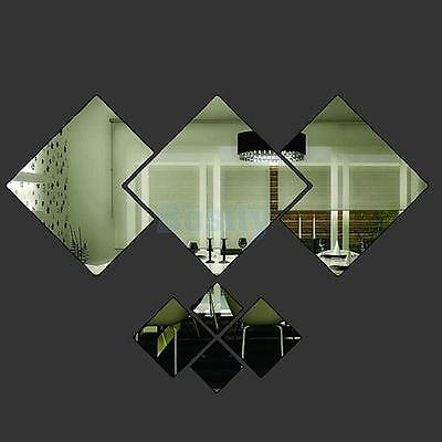 7pcs DIAMOND Modern Plastic Mirror Wall Home Decal Decor Vinyl Art Stickers