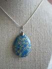 ~ Natural Blue Sea Sediment Jasper Gemstone Pendant & Silver Plated Chain ~