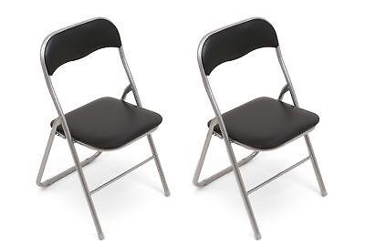 2 Stück Klappstuhl Klappstühle Kunstleder - Silber-schwarz - 2x Stühle Stuhl We Nemen Klanten Als Onze Goden