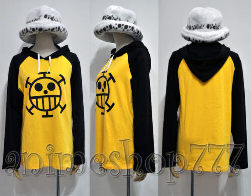 One Piece Trafalgar Law Hoodie T-shirt Hat Pants Cosplay Costume Free Shipping