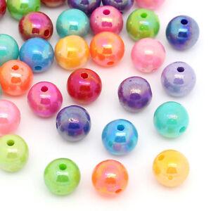 300-Mix-Mehrfarbig-Kugeln-Rund-Acryl-Spacer-Perlen-Beads-8mm
