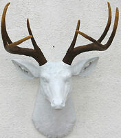 Faux White Brown Deer Head 8 Point Wall Mount Decor
