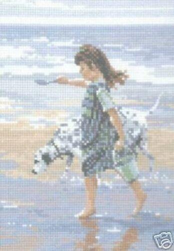 Beach Companions Girl and Dog On Beach Cross Stitch Kit