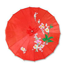 Vintage Oriental Folding Red Wedding Party Nylon Bamboo Umbrella Parasol 15""