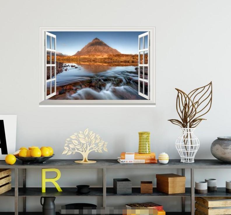 3D Hill River 4119 Open Windows WallPaper Murals Wall Print Decal Deco AJ Summer