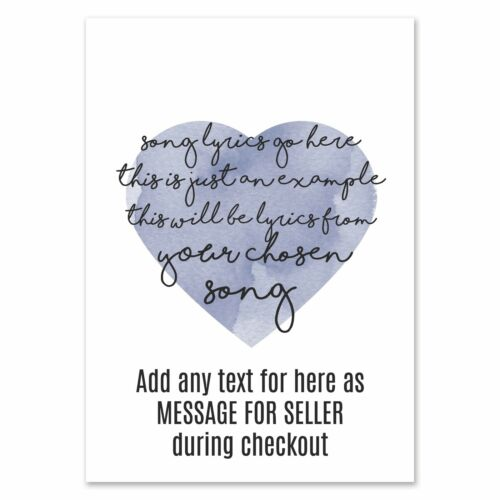 "Christina Perri /""Thousand Years/"" Heart Print Music Song Lyric Personalised Gift"
